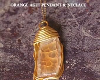 Orange Agate Pendant Necklace