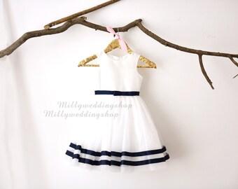 Ivory Taffeta Tulle Navy Blue Stripes  Flower Girl Dress Wedding Junior Bridesmaid Dress M0031