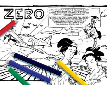 japanese zero coloring pages - photo#23