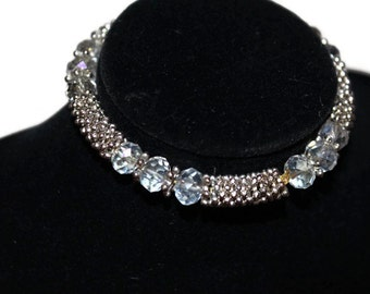 1990's Art Deco Vintage Bracelet/Swarovski crystal stone Silver Metal Bracelet