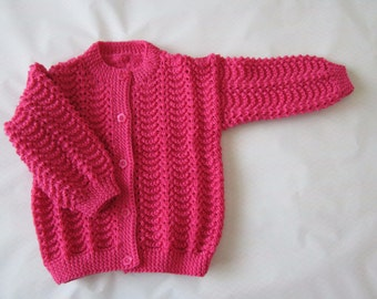Knitted round neck cardigan for girls