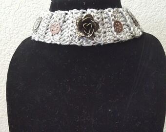 Crochet steampunk inspired choker