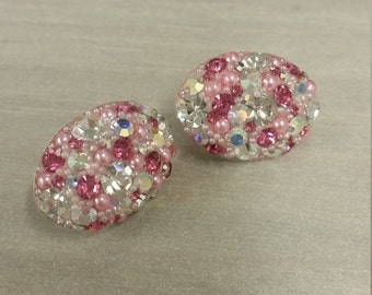 Oval Chrystal gem earings