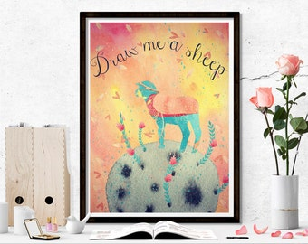 The Little Prince Quote Printable Poster, The little prince quote, draw me a sheep, children printable, nursery watercolor printable art