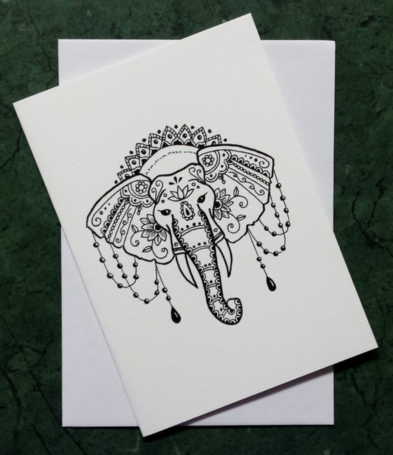 Mehndi Henna Hand Greeting Cards : Mehndi elephant greeting card with print of original artwork