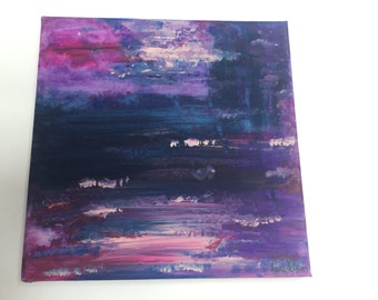 Original abstract acrylic painting on lightweight canvas frame in pink, purple, blue and white