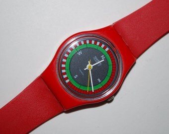 1984 Swatch Vintage Watch Lady LR-102 COMPASS Free Shipping Battery New Strap