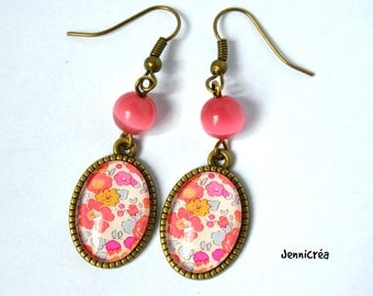 Earrings image flowers liberty cabochon glass