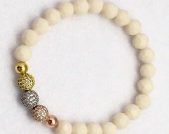 Gold, Silver, Rose Gold Czs, White Cream Ivory Bracelet Czech Crystal Beaded Bracelet Czech Bridal Bracelet Unisex
