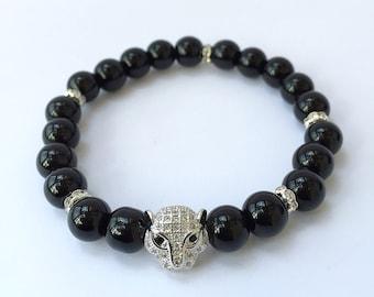 Black Pave Diamond Leopard Bracelet, Diamond Pave Bracelet, Onyx Bracelet, Cubic Zircon Black Panther Bracelet, Mens Black Jewelery