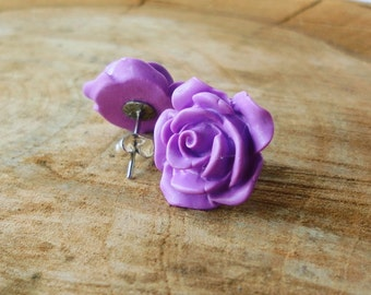 Rose earrings, Purple rose earrings, Polymer clay earrings, Flower earrings, bridesmaid gift, wedding earrings, bridesmaid earrings