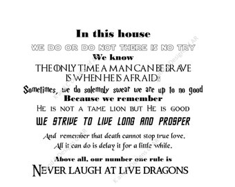 In this house, quotes from Fantasy/Sci Fi SVG, PNG