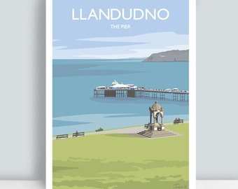Llandudno, North Wales, The Pier. Travel Art Print/Poster. PLUS FREE POSTAGE!