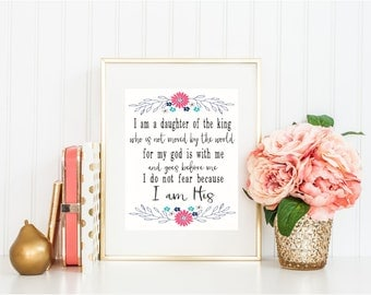 I am a Daughter of the King Printable Wall Art