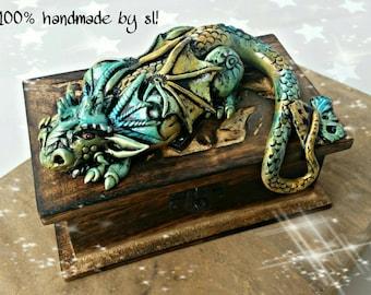 Treasure chest wood box decoration fantasy Dragon witches magic box LARP MPS fantasy unique handmade Dragon