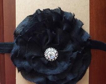 Black chiffon flower headband with bling