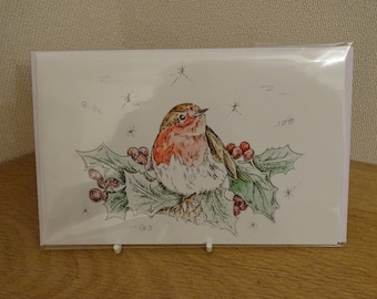 Robin Illustrated Christmas Card
