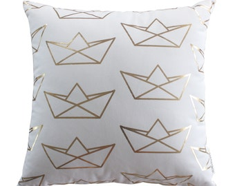 Boat Origami Paper Boat Sailor Pattern Gold Foil Cushion Cover Handmade 100% Cotton Throw Pillow
