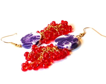 Red Celosia, Dangle Earrings, Red Glass Beads, with White & Purple Ceramic Beads, Gold Plated Earrings