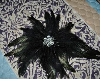 Handmade black feather epaulette pads burning man festival epaulettes for decor