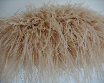 Light Taupe / ivory taupe Ostrich feather fringe trim 10 yards for sewing