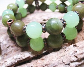 Boho Bracelet-Gemstone Bracelet-Ethnic Bracelet-Bohemian Bracelet-Heart Chakra Bracelet-Jade Bracelet-Healing Bracelet-Love Bracelet