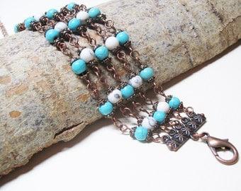 Boho Bracelet Turquoise Bracelet Romantic Bracelet Ethnic Bracelet Boho Chic Bracelet Bohemian Jewelry Free Shipping Christmas Gift Howlite