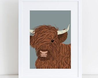 A4 Highland Cow Print