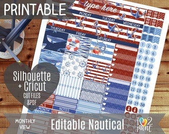Editable Nautical Monthly View Printable Planner Stickers, Erin Condren Planner Stickers, Monthly Overview Stickers, Watercolor / Cut files