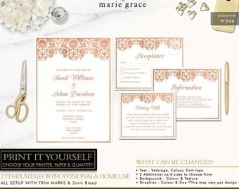 Gold Wedding Invitations, Rose Gold, Wedding Invitations, Damask