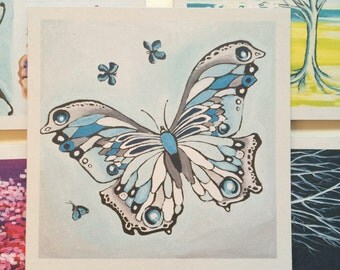 Set of 5 greeting cards: Butterfly in blue
