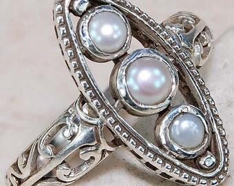Seed Pearl & Sterling Silver Vintage Ring!