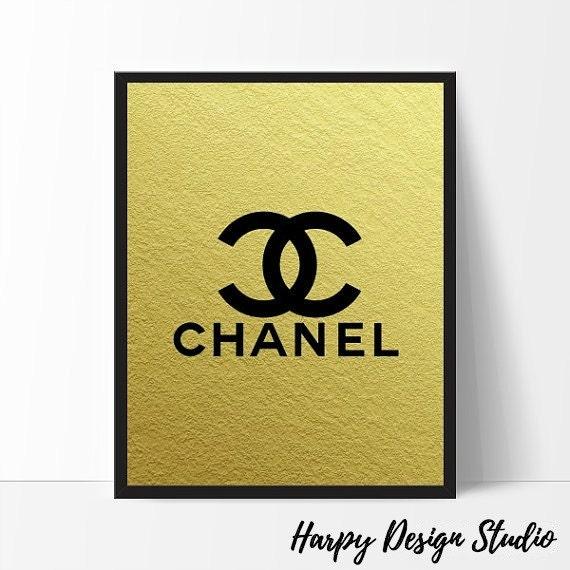 Chanel Logo Fashion Coco Chanel Print Gold Foil Coco Chanel