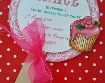 Children's lollipop invitation on a stick with cup cake