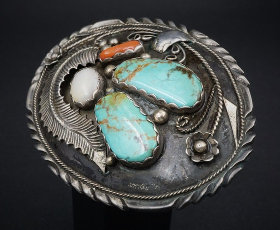 "4"" Navajo Calladitto Sterling Silver Turquoise Hand Signed MOP Belt Buckle M346"