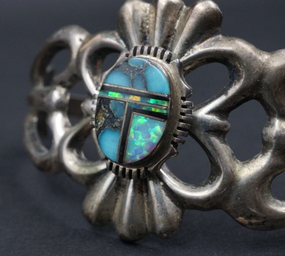 """Francis Begay Sandcast Sterling Silver Opal Turquoise Navajo Inlay Bracelet 6.5"""" BS962"""