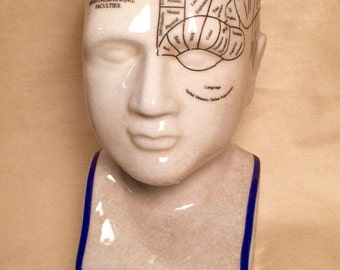 "8"" Phrenology Head with Blue Trim"