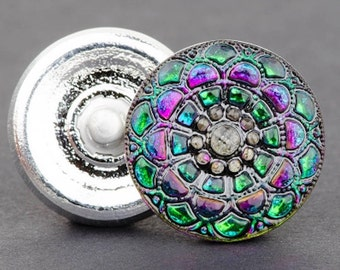 Czech Glass Button, Round Lacy Snowflake Button, Green Purple Iridescent with Black Wash, 19mm Button