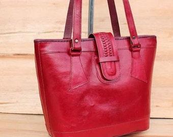 Tote Redish  // Leather Messenger Bag // Satchel Bag // Brown Leather Crossbody Ipad // Messenger Bag // Women Bag