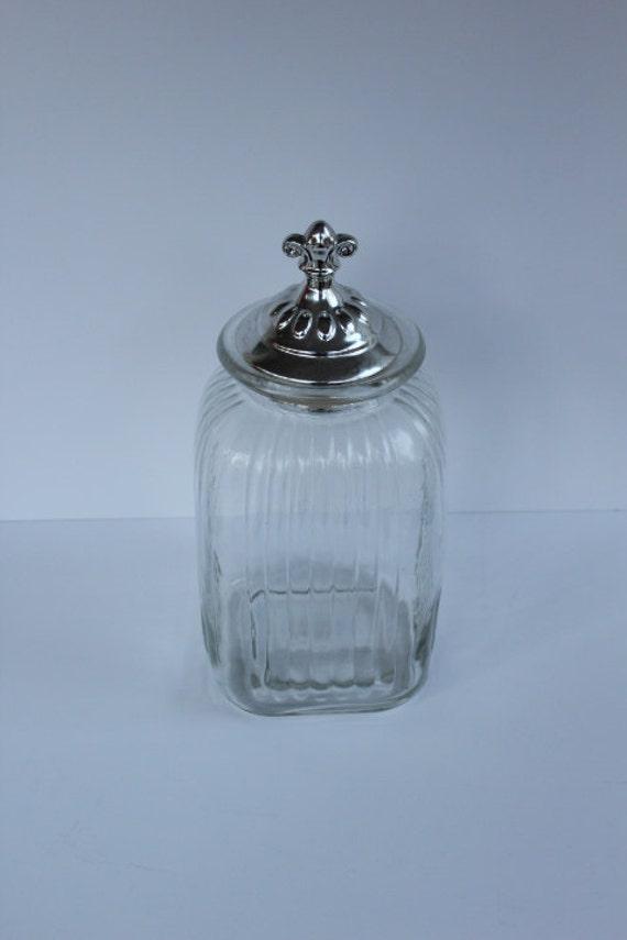 Apothecary Jar With Fleur De Lis Silver Lid
