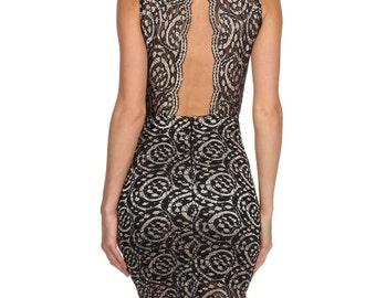 Lace, round neckline, sleeveless, knee length, dress