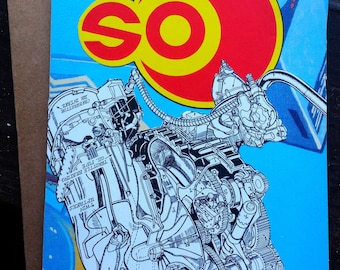 "Original Collage Greeting Card ""sO"" - Mixed Media"