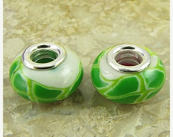 40% CLEARANCE 2 sterling silver lampwork glass beads fit 0228 14494