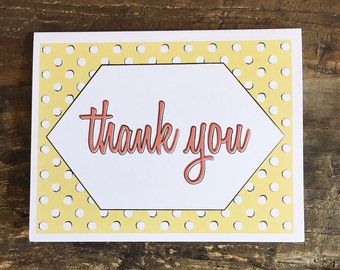 Thank you cards - set of six cards with envelopes - greeting cards - thank you card set - modern thank you cards - notecard set - stationery