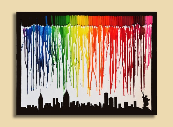 New york city skyline, colorful Acrylic and melted crayons on canvas 18x24