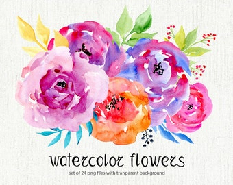 Watercolor floral clipart: 24 bright Branches, Flowers, Leaves, Boho Aquarelle Digital Clip Art, watercolour colorful flowers, wildflowers