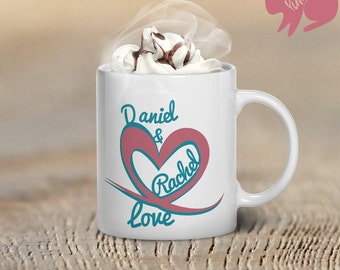 Custom Love Mug, Custom Coffee Mag, Heart With Names Design