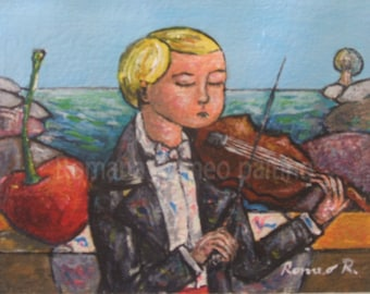 Original-the little violinist (The little violinist)-10cmx 7.5 cm