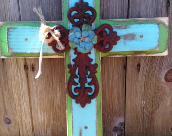 Rustic Blue and Green Cross