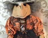Handmade Halloween Primitive Witch, Primitive dolls, Halloween Decor, Dolls Handmade, Witch Primitive Doll, Folk Art, Witch Doll, Art Doll